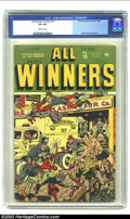 Golden Age (1938-1955):Superhero, All Winners Comics #16 (Timely, 1945) CGC VG 4.0 Off-white pages. Alex Schomburg cover. Overstreet 2003 VG 4.0 value = $270....