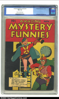 Amazing Mystery Funnies #3 (Centaur, 1938) CGC FN+ 6.5 Cream to off-white pages. Bill Everett cover and art, with Will E...