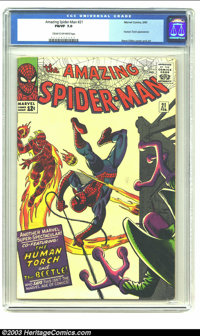 Amazing Spider-Man #21 (Marvel, 1965) CGC FN/VF 7.0 Cream to off-white pages. Human Torch appearance and Steve Ditko cov...
