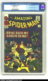 Amazing Spider-Man #27 (Marvel, 1965) CGC FN/VF 7.0 Cream to off-white pages. Fifth appearance of the Green Goblin, Stev...