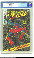 Bronze Age (1970-1979):Superhero, Amazing Spider-Man #100 (Marvel, 1971) CGC VG/FN 5.0 Off-white pages. Anniversary issue with artwork by John Romita and Gil ...