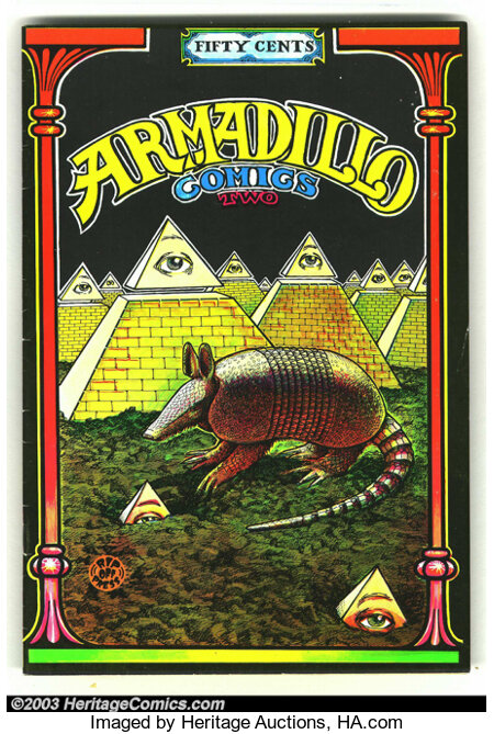 Armadillo Comics #2 First Print (Rip Off Press, 1971) Condition = VG. This great underground features an armadillo theme. Ar...