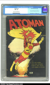 Atoman #1 (Spark Publications, 1946) CGC FN+ 6.5 Light tan to off-white pages. Origin and first appearance of Atoman. Je...