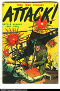 """Golden Age (1938-1955):War, Attack #1 (Youthful Magazines, 1952) Condition: VG. Overstreet notes """"extreme violence."""" Overstreet 2003 VG 4.0 value = $62...."""
