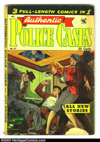 Authentic Police Cases #27 (St. John, 1953) Condition: GD+ 2.5. Three full-length comics in one. Overstreet 2003 GD 2.0...
