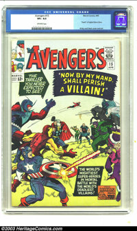 """The Avengers #15 (Marvel, 1965) CGC VF+ 8.5 Off-white pages. """"Death"""" of original Baron Zemo; Kirby and Heck co..."""