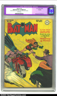 Batman #34 (DC, 1946) CGC Apparent FN 6.0 Slight (A) Off-white pages. Dick Sprang cover, Jerry Robinson art. CGC notes...