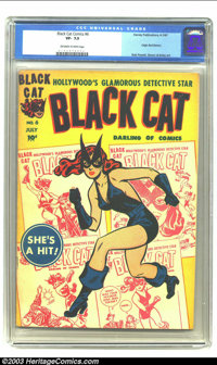 Black Cat #6 (Harvey, 1947) CGC VF- 7.5 Off-white to white pages. Origin Red Demon; Bob Powell, Simon and Kirby art. Ove...