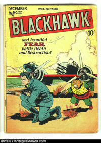 Blackhawk #22 (DC, 1948) Condition: GD/VG 3.0. Blackhawk and Chop Chop cover. Overstreet 2003 GD 2.0 value = $46; VG 4.0...