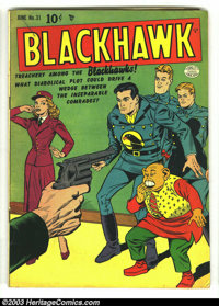 Blackhawk #31 (DC, 1950) Condition: VG+ 4.5. Chop Chop by Jack Cole. Overstreet 2003 VG 4.0 value = $78