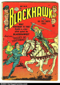 Blackhawk #40 (DC, 1951) Condition: VG 4.0. Cool knight in armor cover. Overstreet 2003 VG 4.0 value = $78