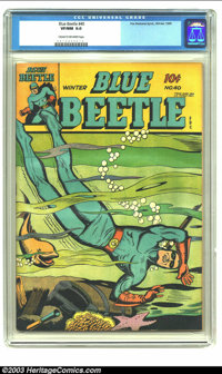 Blue Beetle #40 (Fox Features Syndicate, 1945) CGC VF/NM 9.0 Cream to off-white pages. Beaten out by one other copy of i...