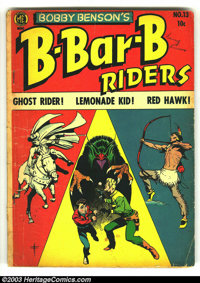Bobby Benson's B-Bar-B Riders #13 (Magazine Enterprises, 1952) Condition: VG. Frank Frazetta cover; features Ghost Rider...