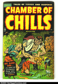 Chamber of Chills 23 (#3) (Harvey, 1951) Condition: VG. Excessive violence; eyes torn out. Really cool Harvey Pre-code h...
