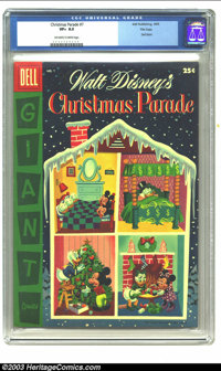 Christmas Parade #7 File copy (Dell, 1955) CGC VF+ 8.5 Off-white to white pages. Dell Giant; features Walt Disney's Mick...