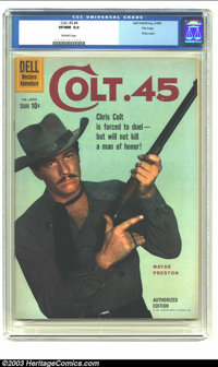 Colt .45 #4 File copy (Dell, 1960) CGC VF/NM 9.0 Off-white pages. Wayde Preston photo cover. Overstreet 2003 VF/NM 9.0 v...