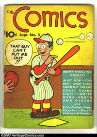 Comics, The #5 (Dell, 1937) Condition: VG-. Tom Mix, Myra North, Wash Tubbs, Alley Oop, others. Water stains. Overstreet...