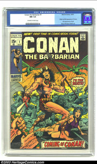 Conan The Barbarian #1 (Marvel, 1970) CGC NM 9.4 Off-white to white pages. Origin and first appearance of Conan by Barry...