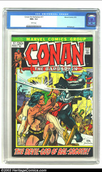 Conan The Barbarian #17 (Marvel, 1972) CGC NM+ 9.6 White pages. Wow, a black cover in NM+ with white pages! What more co...