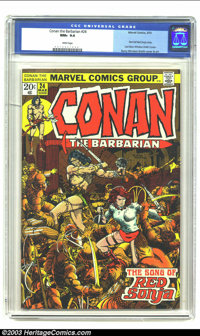 Conan The Barbarian #24 (Marvel, 1973) CGC NM+ 9.6 White pages. First full Red Sonja story. Barry Windsor-Smith art. Ove...