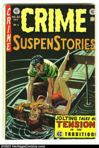 Crime SuspenStories #23 (EC, 1954) Condition: FN/VF. Seriously classic cover. Used in Senate investigation on juvenile d...