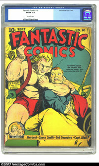Fantastic Comics #10 (Fox, 1940) CGC VG/FN 5.0 Off-white pages. With one bad guy in a headlock and another staring in am...