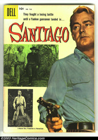 Four Color #723 Santiago (Movie) (Dell, 1956) Condition: VF+. Great Alan Ladd photo cover Western. Interior art by Kinst...