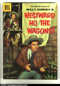 Four Color #738 Westward Ho the Wagons! (Movie) (Dell, 1956) Condition: VF/NM. Fess Parker photo cover Western. Overstre...