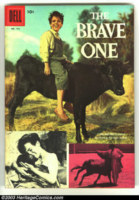 Four Color #773 The Brave One (Movie) (Dell, 1957) Condition: VF/NM. Photo cover in unbelievable condition. Overstreet 2...