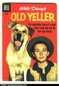 Four Color #869 Old Yeller (Movie) (Dell, 1957) Condition: VF. Great photo cover. Overstreet 2003 VF 8.0 value = $40. Fr...