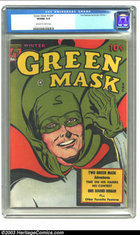 Green Mask v2 #4 (Fox Features Syndicate, 1945) CGC VF/NM 9.0 Off-white to white pages. This book features two great Gol...