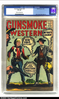 Gunsmoke Western #55 (Marvel, 1959) CGC VF 8.0 Cream to off-white pages. This great Marvel western features Wyatt Earp a...