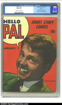 Hello Pal #1 Denver pedigree (Harvey, 1943) CGC FN+ 6.5 Cream to off-white pages. Mickey Rooney photo cover; Rocketman a...
