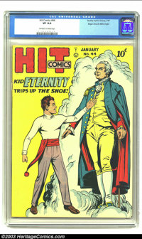 Hit Comics #44 Mile High pedigree (Quality, 1947) CGC VF 8.0 Off-white to white pages. Features Kid Eternity and George...