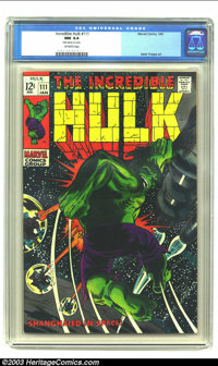The Incredible Hulk #111 (Marvel, 1969) CGC NM 9.4 Off-white pages. This issue, with its dark black cover is very diffic...