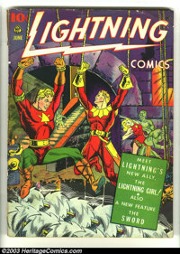 Lightning Comics v3 #1 (Ace, 1942) Condition: FR. Jim Mooney cover. Intro Lightning Girl and the Sword. This copy has th...