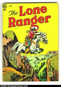 The Lone Ranger #9 and #10 (Dell, 1949). Issue #9 grades VG+, while #10 grades GD. Overstreet 2003 value for group = $57...