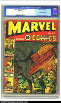 "Marvel Mystery Comics #13 (Timely, 1940) CGC FR 1.0 Cream to off-white pages. CGC notes: ""two pieces of tape on spi..."
