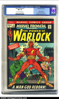 Marvel Premiere #1 (Marvel, 1972) CGC NM- 9.2 Light tan to off-white pages. Origin of Warlock; origin Counter-Earth; Hul...