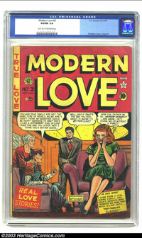 Modern Love #3 (EC, 1949) CGC VG/FN 5.0 light tan to off-white pages. Feldstein cover and Johnny Craig artwork on this c...