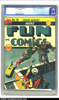 Golden Age (1938-1955):Superhero, More Fun Comics #78 (DC, 1942) CGC VF 8.0 Cream to off-white pages. DC's oldest comic book series started as New Fun Comic...