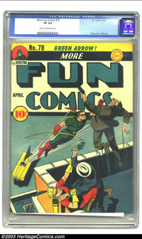 More Fun Comics #78 (DC, 1942) CGC VF 8.0 Cream to off-white pages. DC's oldest comic book series started as New Fun Com...