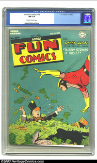 More Fun Comics #100 (DC, 1944) CGC NM 9.4 Off-white to white pages. Johnny Quick cover. Overstreet 2003 NM 9.4 value =...