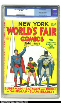 New York World's Fair Comics #nn (DC, 1940) CGC VG 4.0 Off-white pages. Batman, Robin, Hourman and Superman appear; Burn...