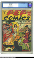 "Golden Age (1938-1955):Superhero, Pep #8 (MLJ, 1940) CGC VG+ 4.5 Cream to off-white pages. Featuring the Shield; ""The Hollywood Murders"", by Harry Shorten and..."