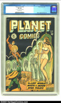 "Golden Age (1938-1955):Science Fiction, Planet Comics #56 (Fiction House, 1948) CGC FN 6.0 Off-white pages.CGC notes: ""1/2"" tear on 15th and 18th page"". Mysta of t..."