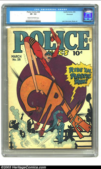 Police Comics #28 Sherwood pedigree (Quality, 1944) CGC VF- 7.5 Cream to off-white pages. Jack Cole cover, Eisner art. O...
