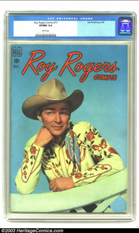 Roy Rogers Comics #17 (Dell, 1949) CGC VF/NM 9.0 White pages. Roy Rogers photo cover. Overstreet 2003 VF/NM 9.0 value =...