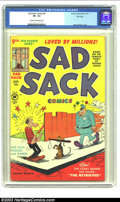 """Golden Age (1938-1955):Cartoon Character, Sad Sack #9 File Copy (Harvey, 1951) CGC VF- 7.5 Cream to off-white pages. Overstreet """"scarce"""" and Gerber """"uncommon"""", this i..."""