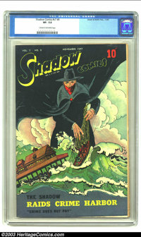 Shadow Comics Vol. 7, #8 (Street & Smith, 1947) CGC VF- 7.5 Cream to off-white pages. The Shadow raids Crime Harbor...